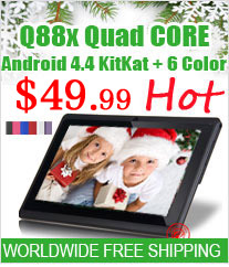 "Free Shipping Q88X 7"" A33 Quad Core Tablet PC"