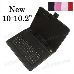 Universal 10/10.1/10.2 Inch Protective Leather Keyboard Case with Stand for Android Tablet PC MID (USB Port)
