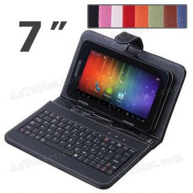 7 Inch Leather Keyboard Case for Sanei N77 (Ampe A76) Elite AllWinner A13 Tablet PC