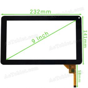 MF-198-090F-2 Digitizer Glass Touch Screen for 9 Inch Allwinner A13 MID Tablet PC Replacement