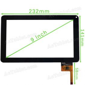 300-N3860B-A00-V1.0 Digitizer Glass Touch Screen for 9 Inch Allwinner A13 MID Tablet PC Replacement