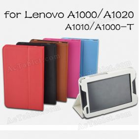 Original Leather Case Cover for Lenovo IdeaTab A1000 A1020 A1010 Tablet PC + Screen Protector