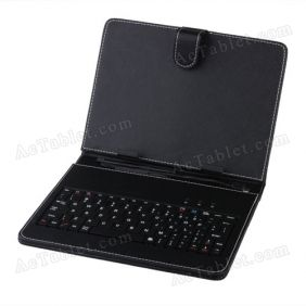 "Leather Keyboard Case for Nobis NB09 NB09k Dual Core 9"" Tablet MID Tablet PC"