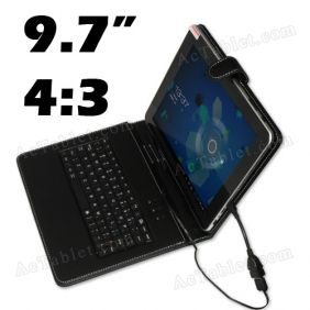 Leather Keyboard & Case for SOXI SOSOON X5 MTK6589 Quad Core 9.7 Inch Tablet PC