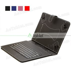 Leather Micro USB Keyboard Case for Nuvision TM101A620M Quad Core 10.1 Inch Tablet PC