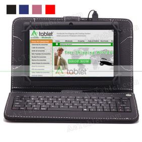 Leather Keyboard Case for Auntwhale Allwinner A33 Quad Core 7 Inch Tablet PC